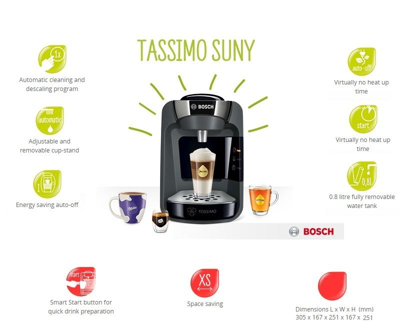 bosch tassimo t32 suny coffee machine tas3202gb around. Black Bedroom Furniture Sets. Home Design Ideas