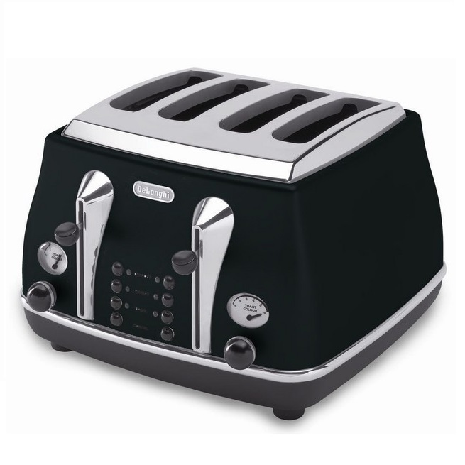 Delonghi Icona Retro 4 Slice Toaster Black Cto4003bk