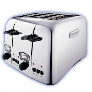 DeLonghi Argento 4 Slice Retro Toaster Chrome CT04C