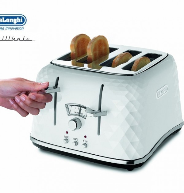 DeLonghi  Brillante 4 Slice White Toaster CTJ4003W