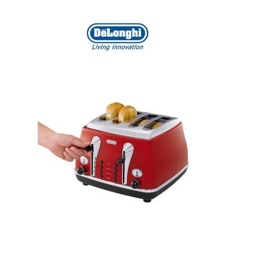 DeLonghi Icona Retro 4 Slice Scarlet Red Toaster CTO4003R