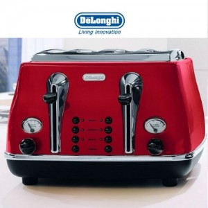 DeLonghi Icona Retro 4 Slice Scarlet Red Toaster CTO4003R