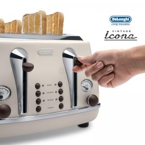 DeLonghi Icona Vintage 4 Slice Toaster Cream CTO4003BG