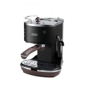 DeLonghi Icona Vintage Pump Espresso Cappuccino Machine Matt Black and Brown ECOV310BK