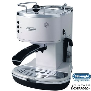 DeLonghi Icona Retro Pump Espresso Cappuccino Machine Pearl White ECO310W