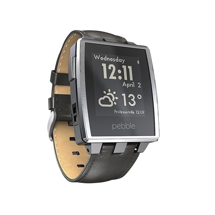 Pebble steel brushed stainless smart watch with black leather band for apple android for Pebble watches