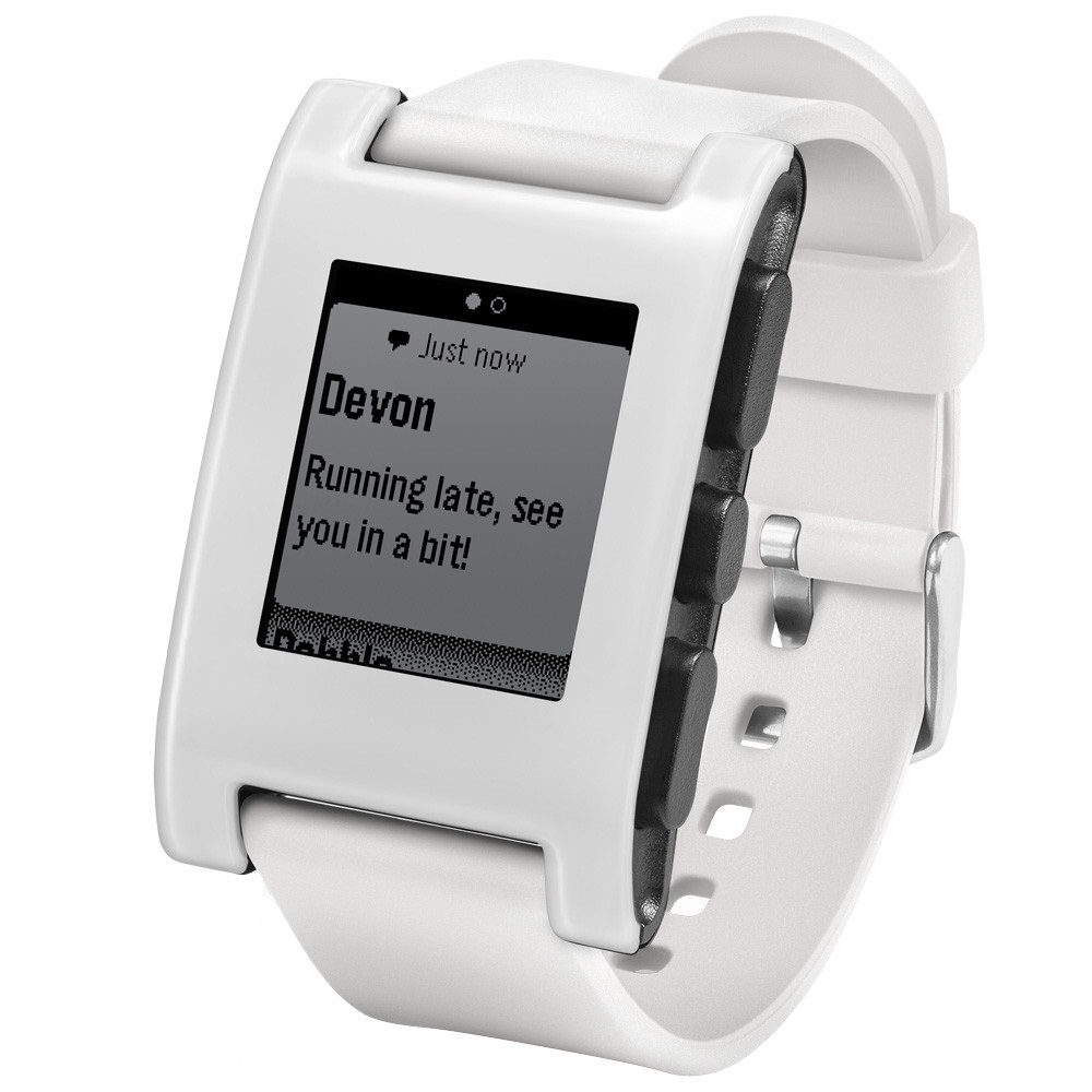 Pebble smart watch e paper 301wh white smartwatch for apple android smart phones around the for Pebble watches