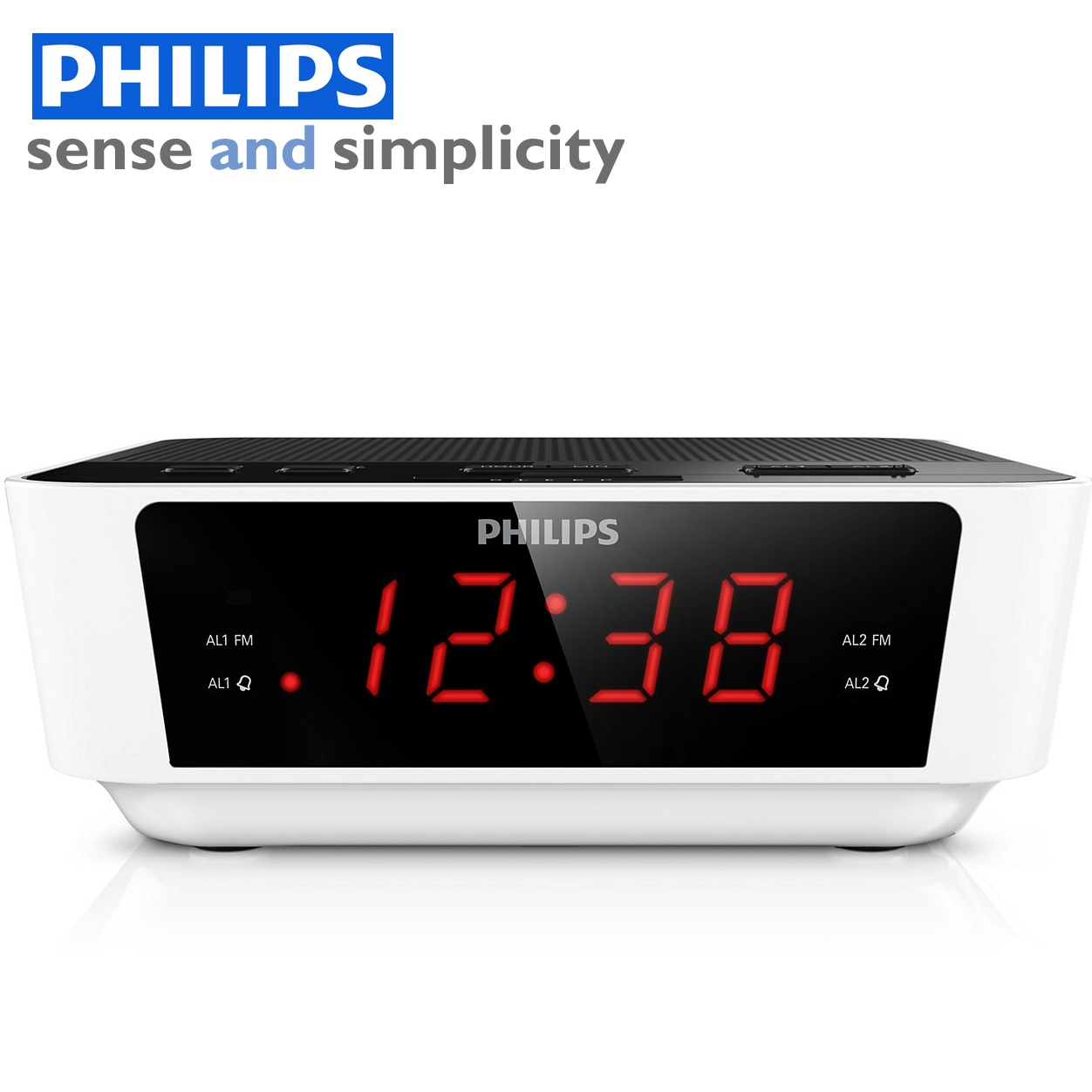 philips aj3115 digital fm tuning dual alarm clock radio white and black aro. Black Bedroom Furniture Sets. Home Design Ideas