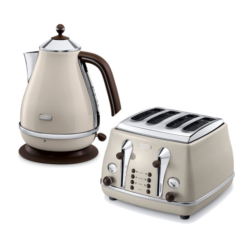 Delonghi Icona Vintage Kettle Amp Toaster Set Cream