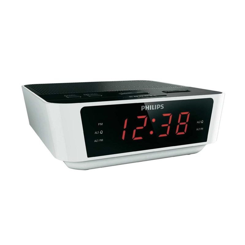 philips aj3115 digital fm tuning dual alarm clock radio white and black around the clock offers. Black Bedroom Furniture Sets. Home Design Ideas