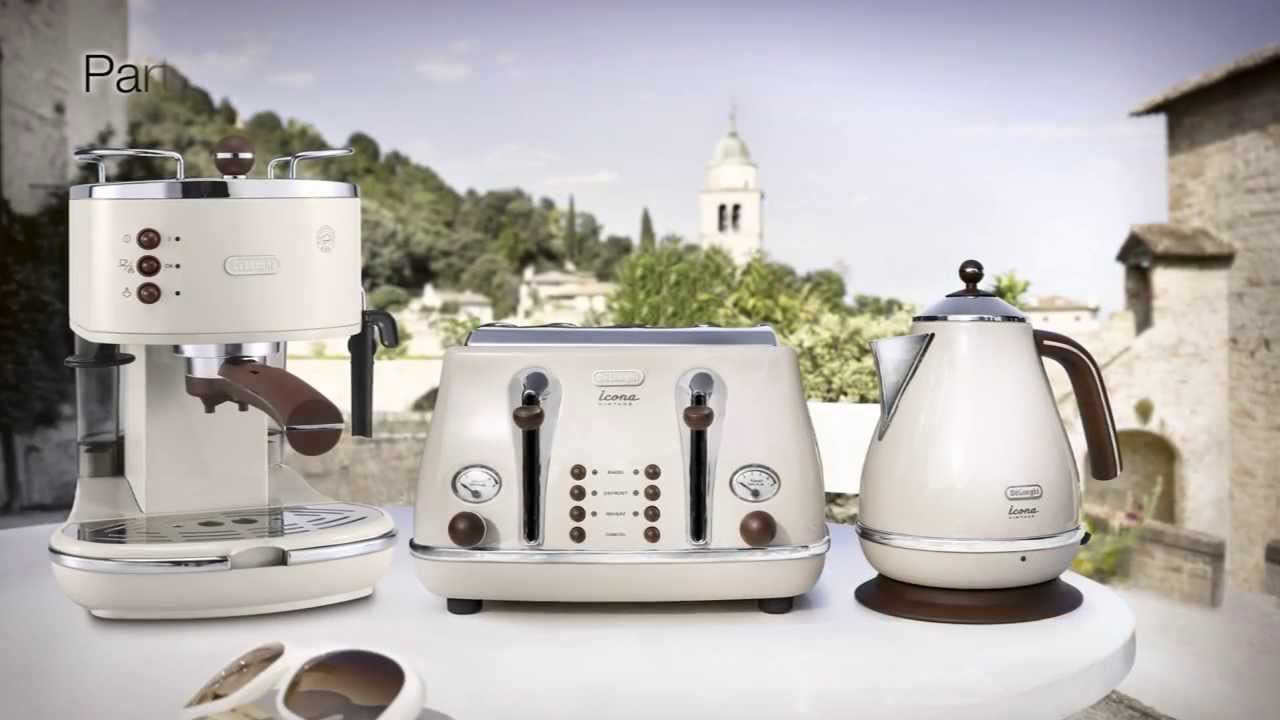 Delonghi Coffee Maker Set Timer : DeLonghi Icona Vintage Kettle & Toaster Set Cream KBOV3001BG & CTOV4003BG Retro Set Beige ...