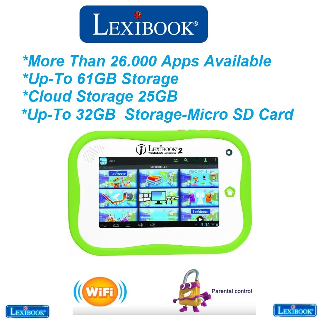 Lexibook Junior 2 Android Kids Tablet 7 Inch 4GB