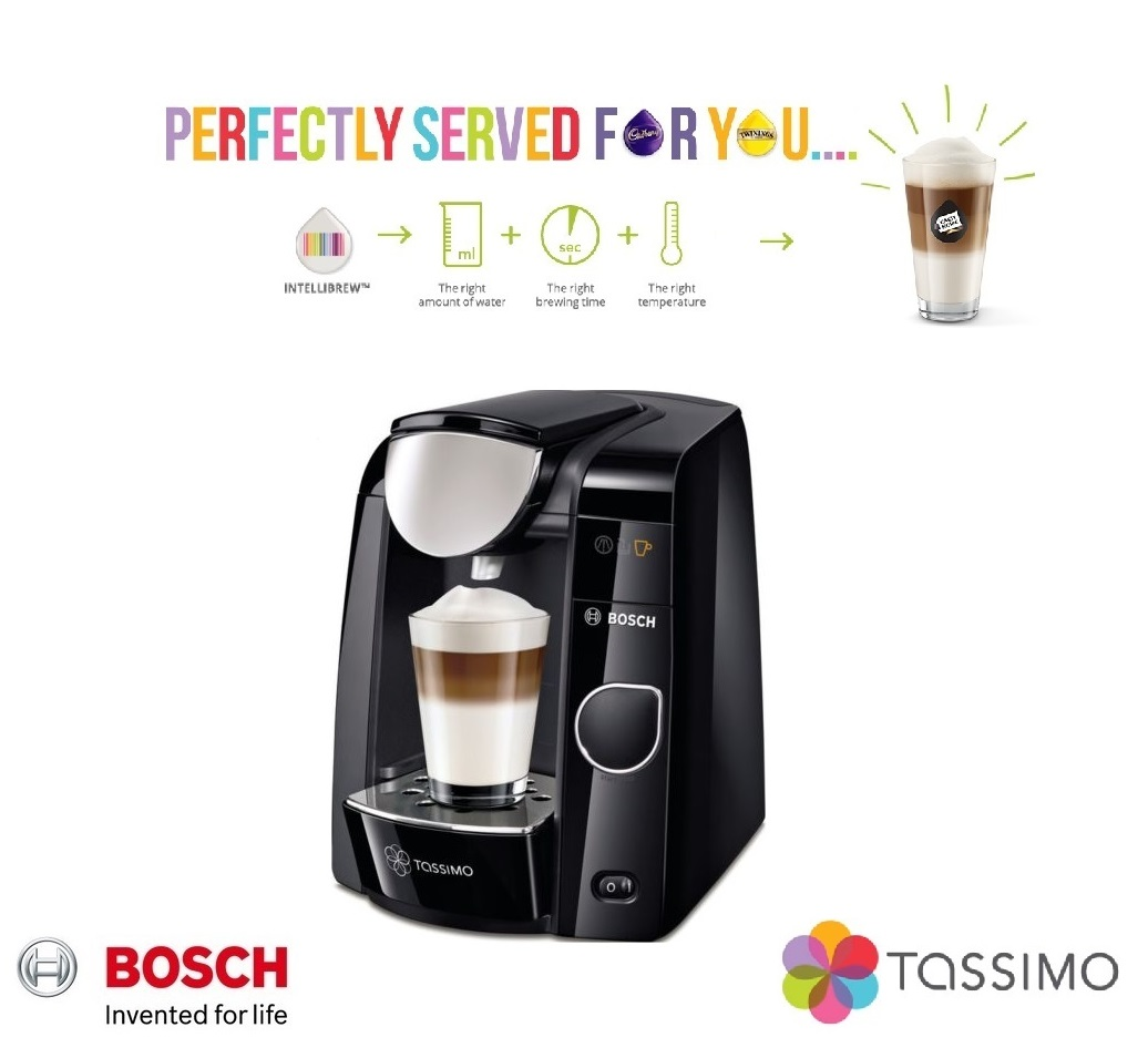bosch tassimo joy 2 t45 multi drinks pod machine black. Black Bedroom Furniture Sets. Home Design Ideas