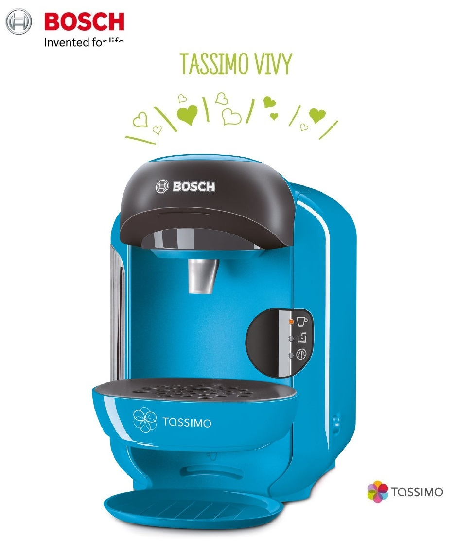 bosch tassimo vivy ii t12 multi drinks pod coffee machine sky blue tas1255gb around the clock. Black Bedroom Furniture Sets. Home Design Ideas