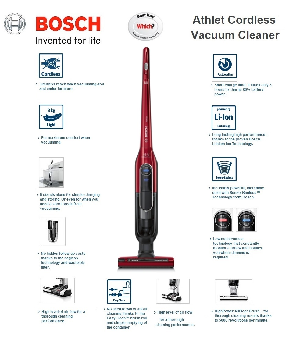 Bosch Athlet Power Upright Cordless Vacuum Cleaner