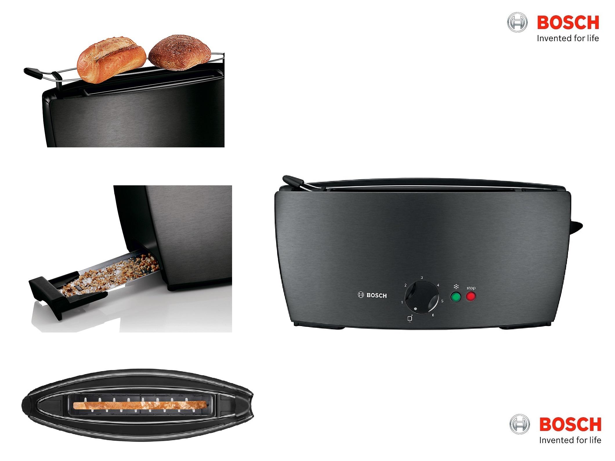 Bosch Tat6805gb City Collection Toaster Black Tat6805gb