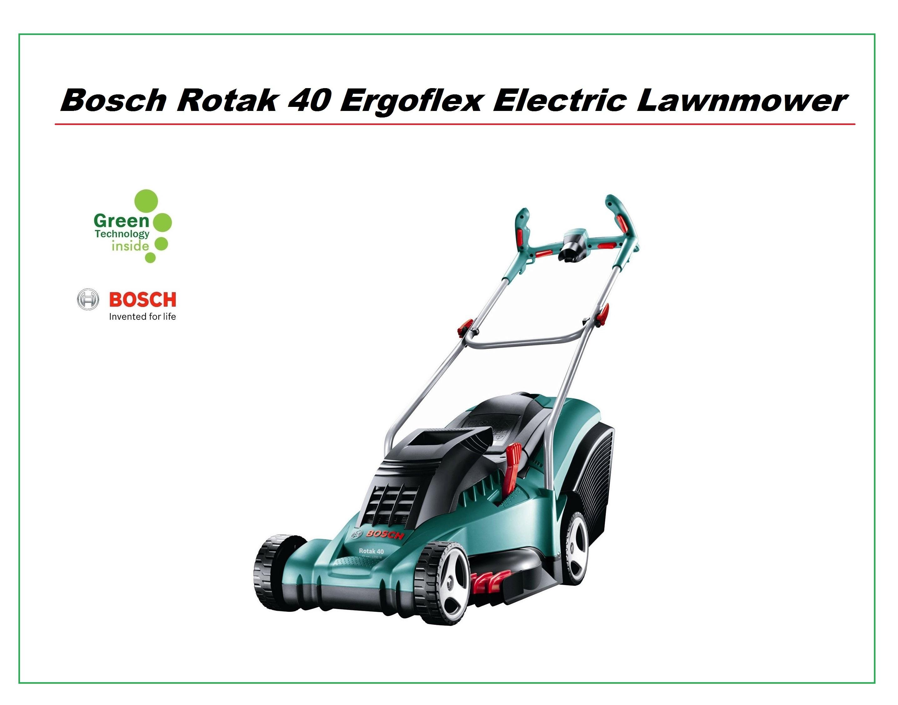 bosch rotak 40 17 ergoflex electric lawnmower 40cm metal blade and rear roller around the. Black Bedroom Furniture Sets. Home Design Ideas