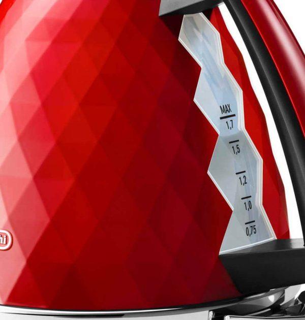 DeLonghi KBJ3001R Brillante Diamond Jug Kettle Red 02