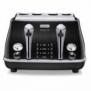 DeLonghi CTOM4003BK Icona MicaLite Vintage 4 Slice Retro Toaster Black