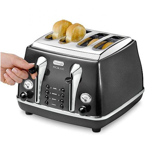 DeLonghi CTOM4003BK Icona MicaLite Vintage Toaster Black 4