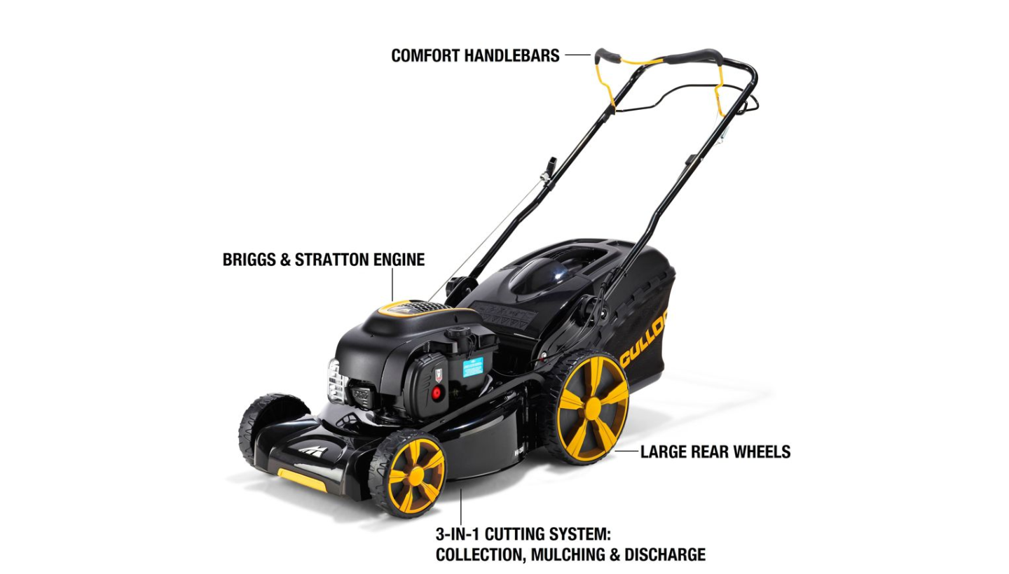 mcculloch m46 140wr petrol self propelled lawnmower 46cm metal blade 4 stroke around the clock. Black Bedroom Furniture Sets. Home Design Ideas
